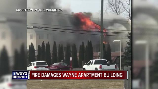 Firefighters battling fire at apartment complex in Wayne