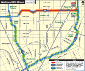 I-696 closing in Macomb County to begin April 27