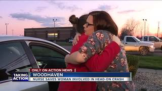 Nurse helps mom to be after head on wreck