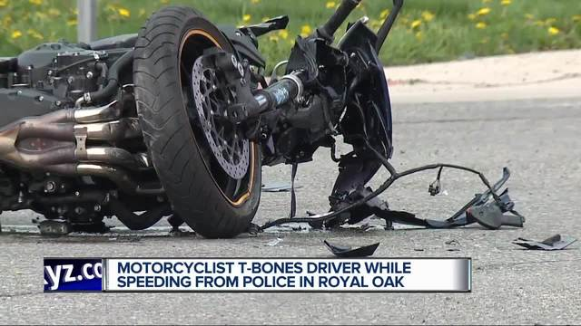 Motorcyclist t-bones car after refusing to stop for police