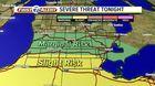 Slight risk of severe storms tonight
