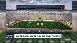 Michigan unveils first look at blue end zones