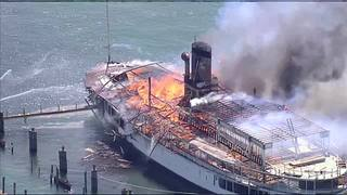 PHOTOS: Boblo Boat catches fire at marina