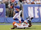 Saquon Barkley strains leg catching pass