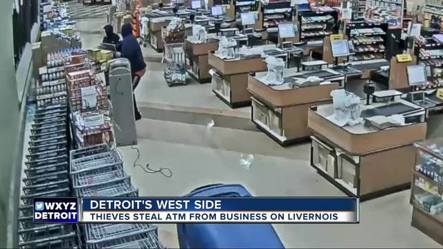 VIDEO- Thieves use sledgehammer- crowbar to steal ATM from Detroit store