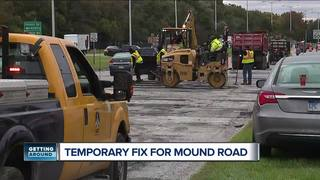 Temporary patching on Mound Road underway