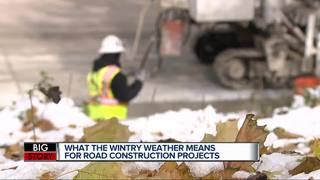 Still pouring concrete in cold, snowy weather